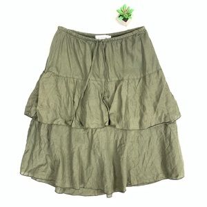Cut Loose Green Tiered Linen Skirt size S